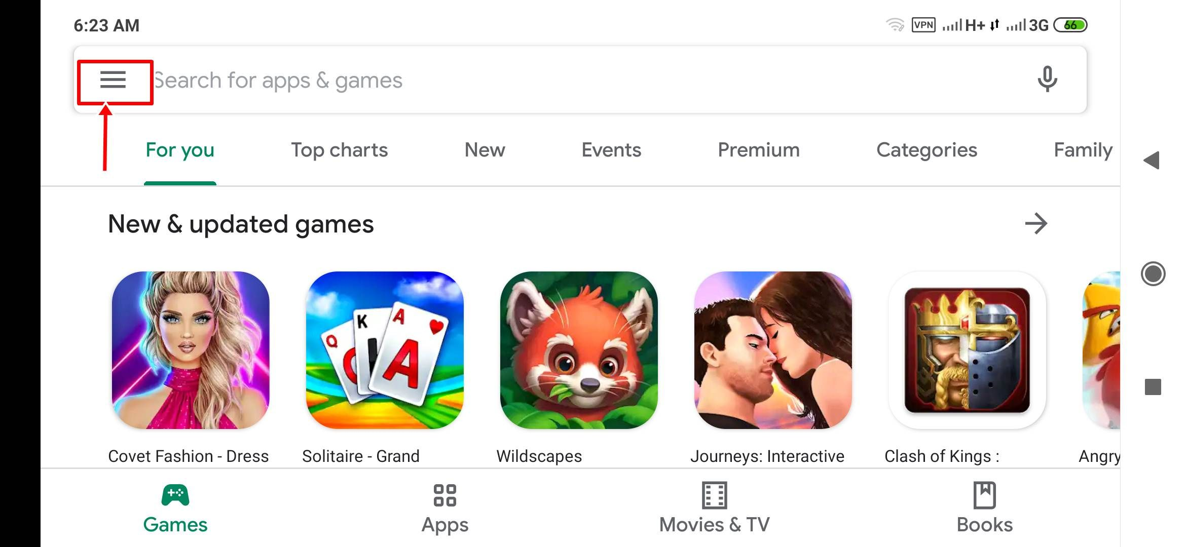 Google Play Store options