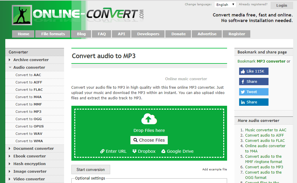 WAV to MP3 converter - ONLINE CONVERT